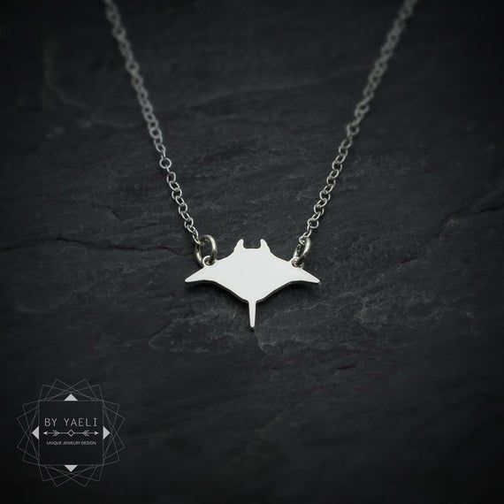 Photo of Tiny manta ray fish necklace, silver dainty manta ray ocean necklace