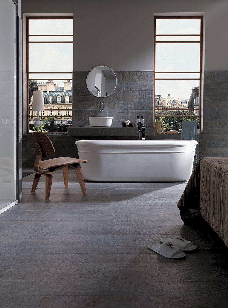 Porcelanosa 'Oxford Silver' Timber Tile Grained
