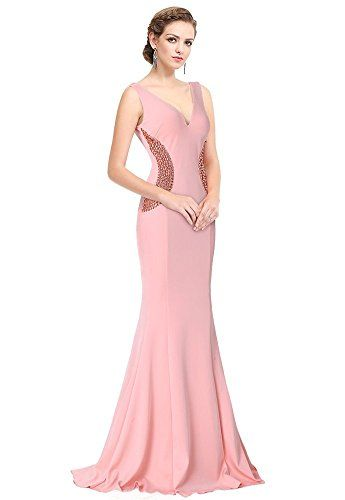 9e836385872 Drasawee Womens Maxi Mermaid Style Evening Party Dress Deep VNeck Bridal  Gowns Pink US16     Check out this great product.