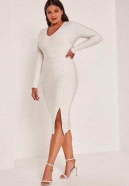 c1c3fa1d7457e White Plus Size Bandage V-Neck Long Sleeve Bodycon Dress