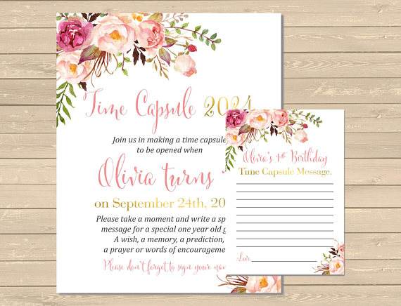 Girl Bday 001-M EDITABLE Floral Blush Pink And Gold Time Capsule Matching Questionnaire First Birthday Instant Download Printable