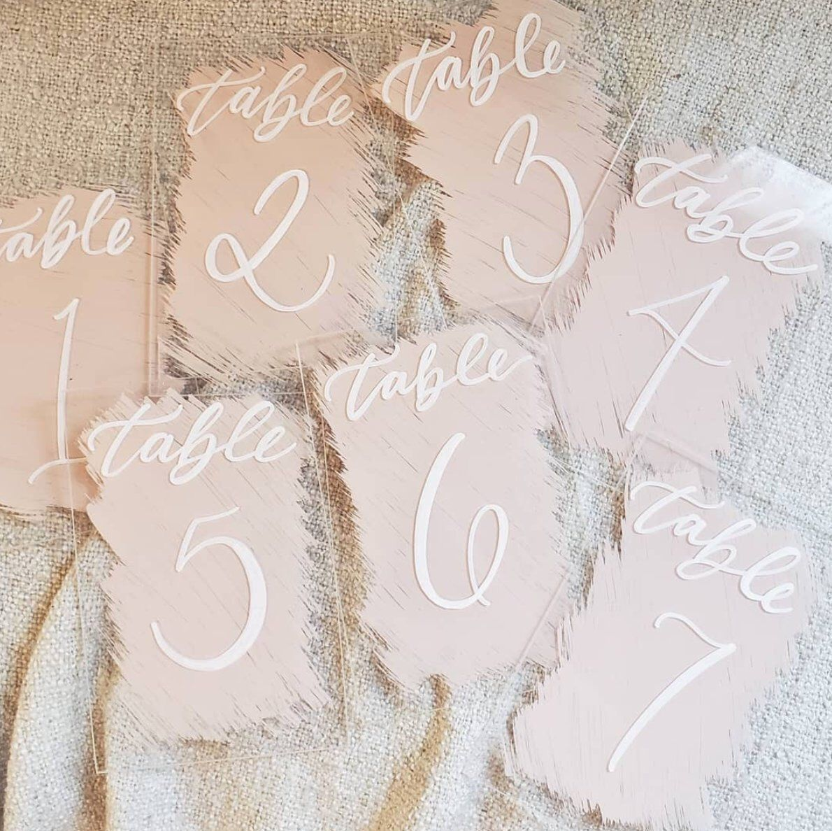 Acrylic Wedding Table Numbers with Painted Backs