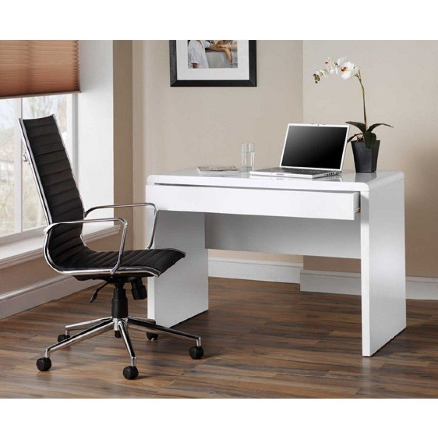 Luxor Gloss Workstation Desk With Hidden Drawer White Home Office Desks Desks Furniture Storage Cheap Home Office White Desk Office Small Office Desk