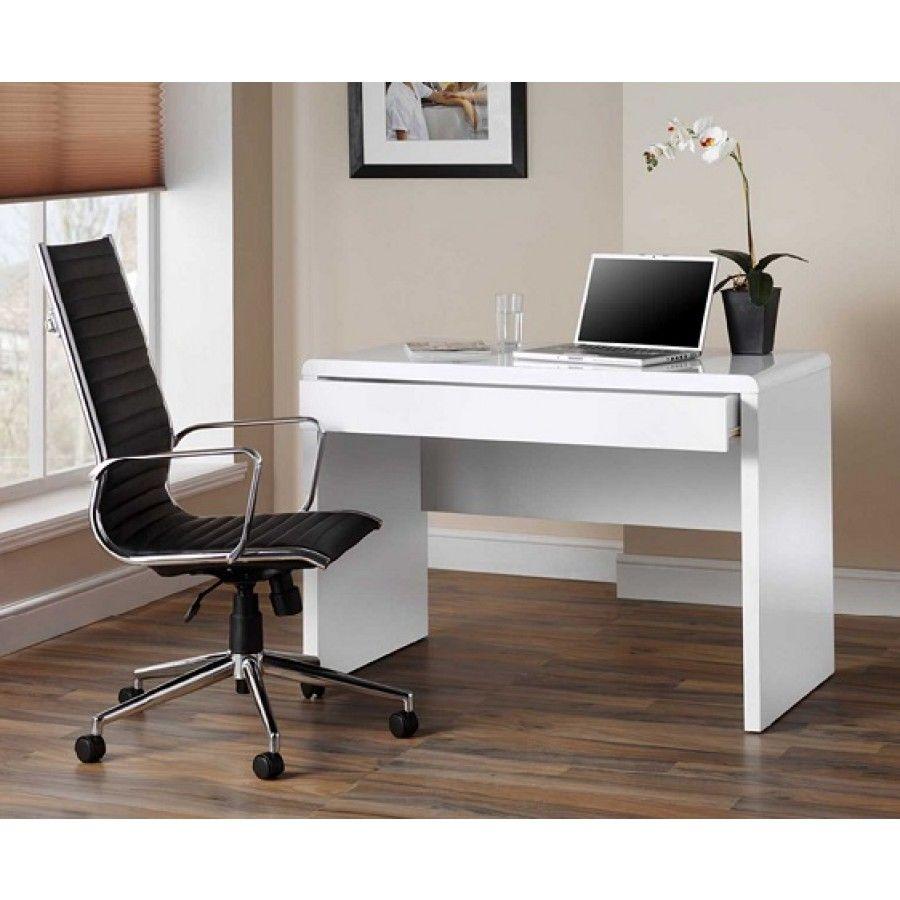Luxor Gloss Workstation Desk With Hidden Drawer White White Desk