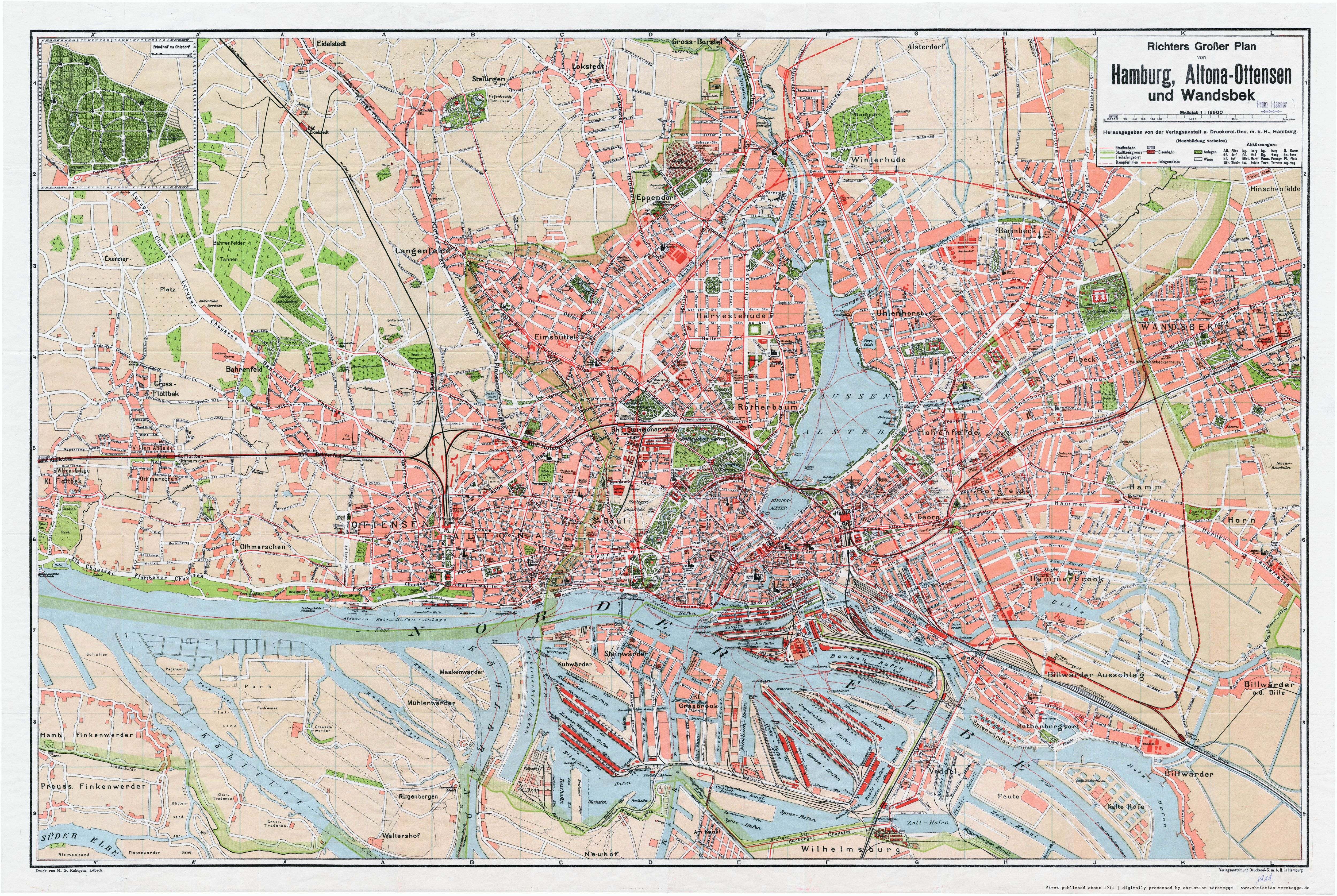 Karte Hamburg 1911 Richters Grosser Plan Von Hamburg Altona