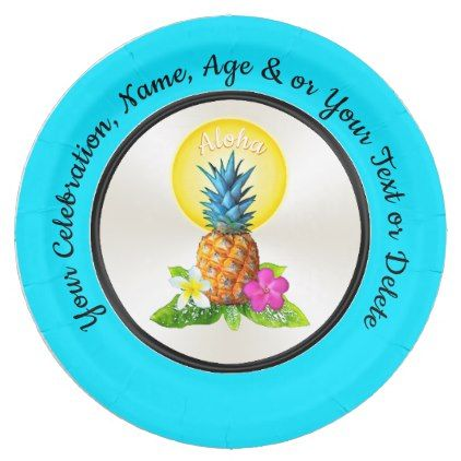 Personalized Hawaiian Paper Plates Any Occasion Paper Plate - paper gifts presents gift idea customize  sc 1 st  Pinterest & Personalized Hawaiian Paper Plates Any Occasion Paper Plate