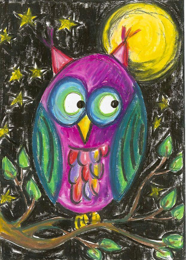 Eule im Mondschein  mit Neocolor gemalt
