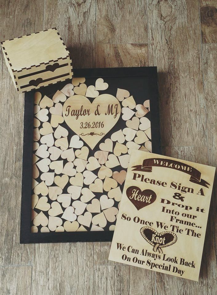 Guest Book For All Occasions Laser Cut Custom Wedding Sign In Shadow Box With 100