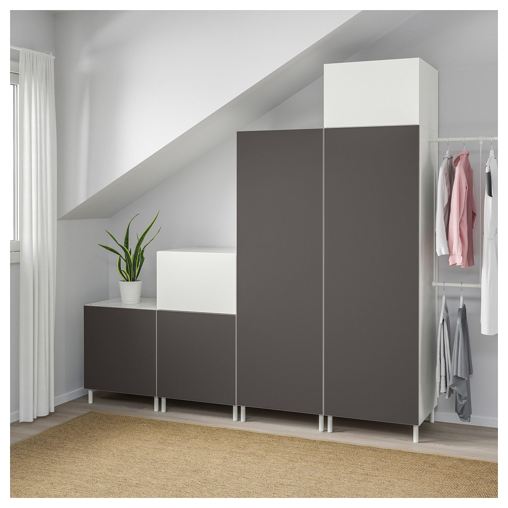 Platsa Wardrobe White Fonnes Skatval Dark Grey 275 300x57x231