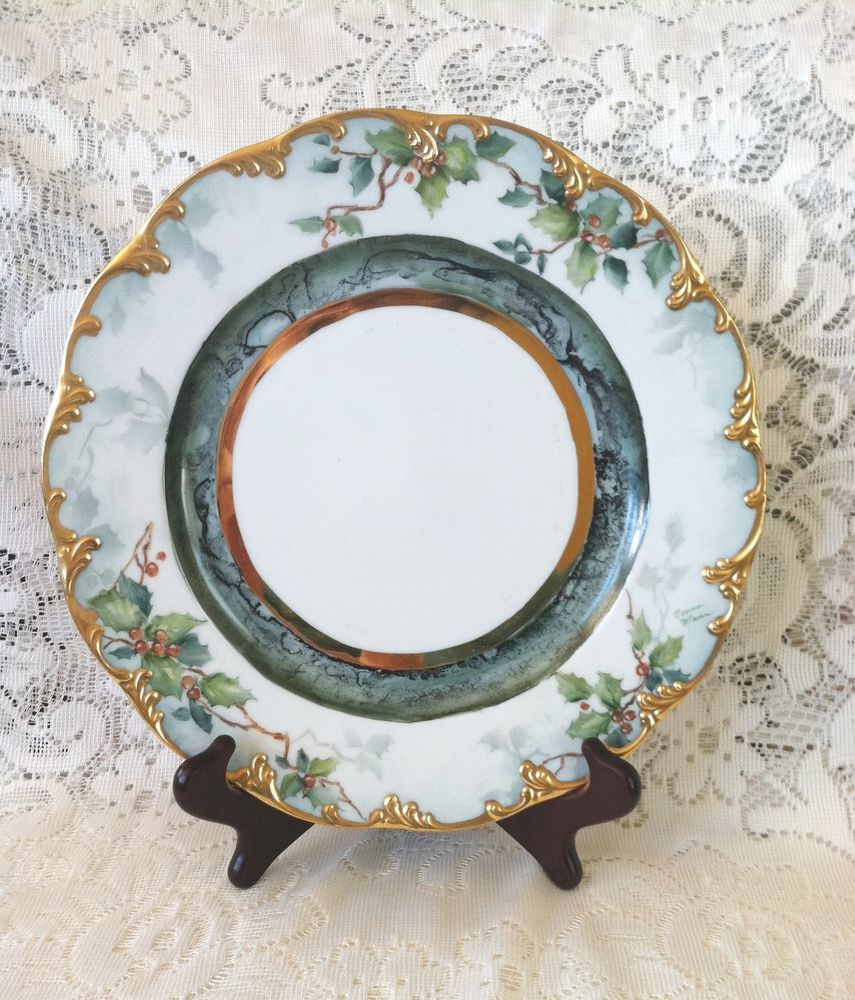 Rosenthal China Christmas Plate 10 Holly Gold Encrusted Vtg Handpainted Signed Classicrosecol Christmas China Christmas Dinnerware Christmas Plates