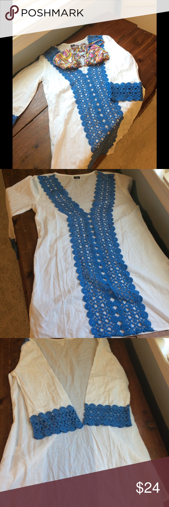 HP 9/21Swimsuit cover-upNWT HP 8/28 Beautiful must have blue and white swimsuit cover-up never worn Swim Coverups