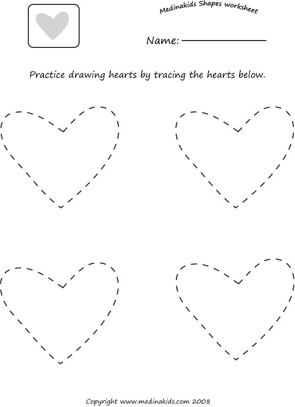 Tracing Hearts Shape Worksheet