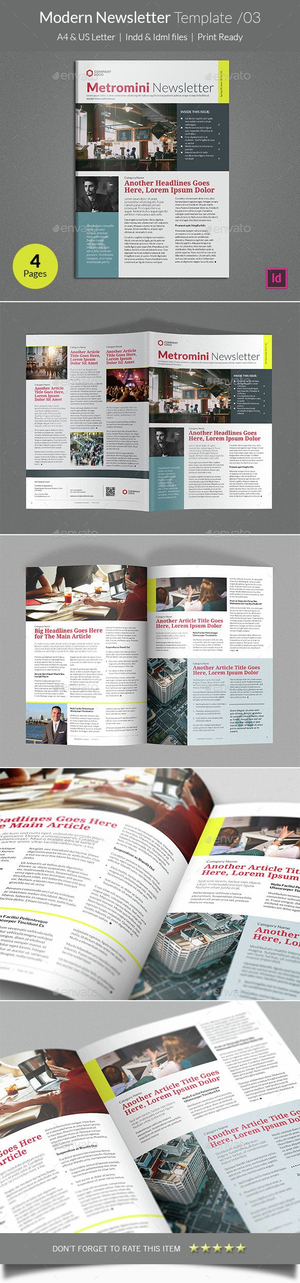 Modern Newsletter Template InDesign INDD. Download here: http ...