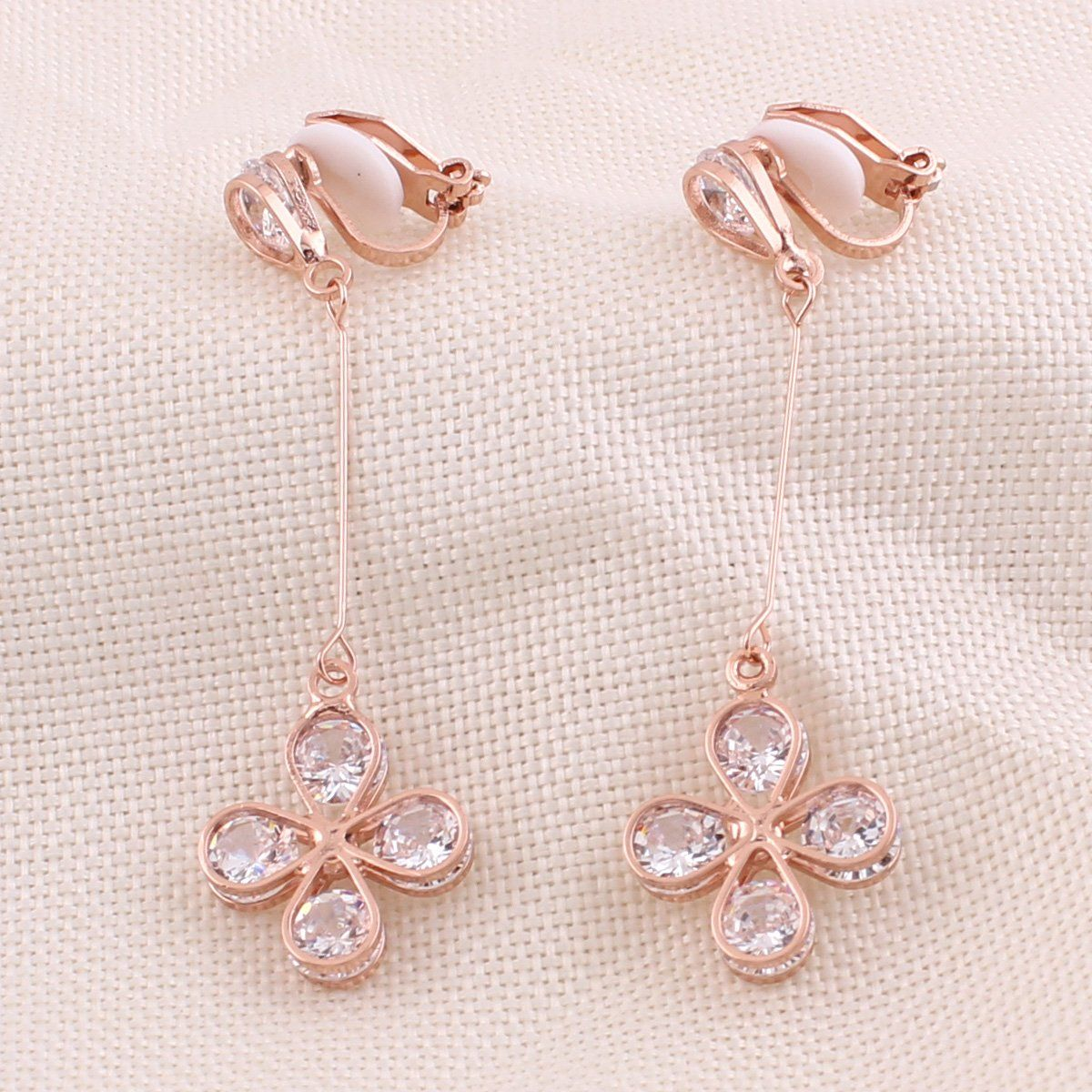 Cartilage piercing bump pop  Grace Jun New Fashion Goldtone Long Clip on Earrings Without
