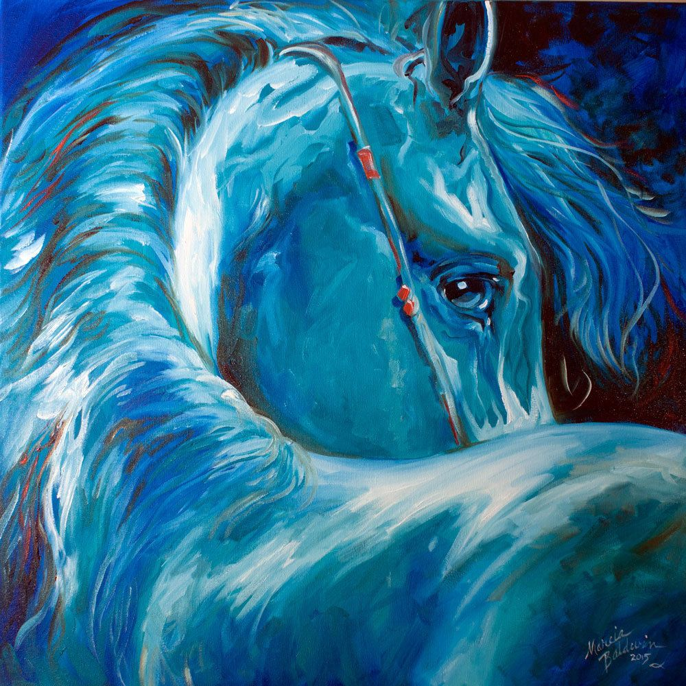 Baldwin Original Oil Painting Blue Angel Horse Equine Art Marcia