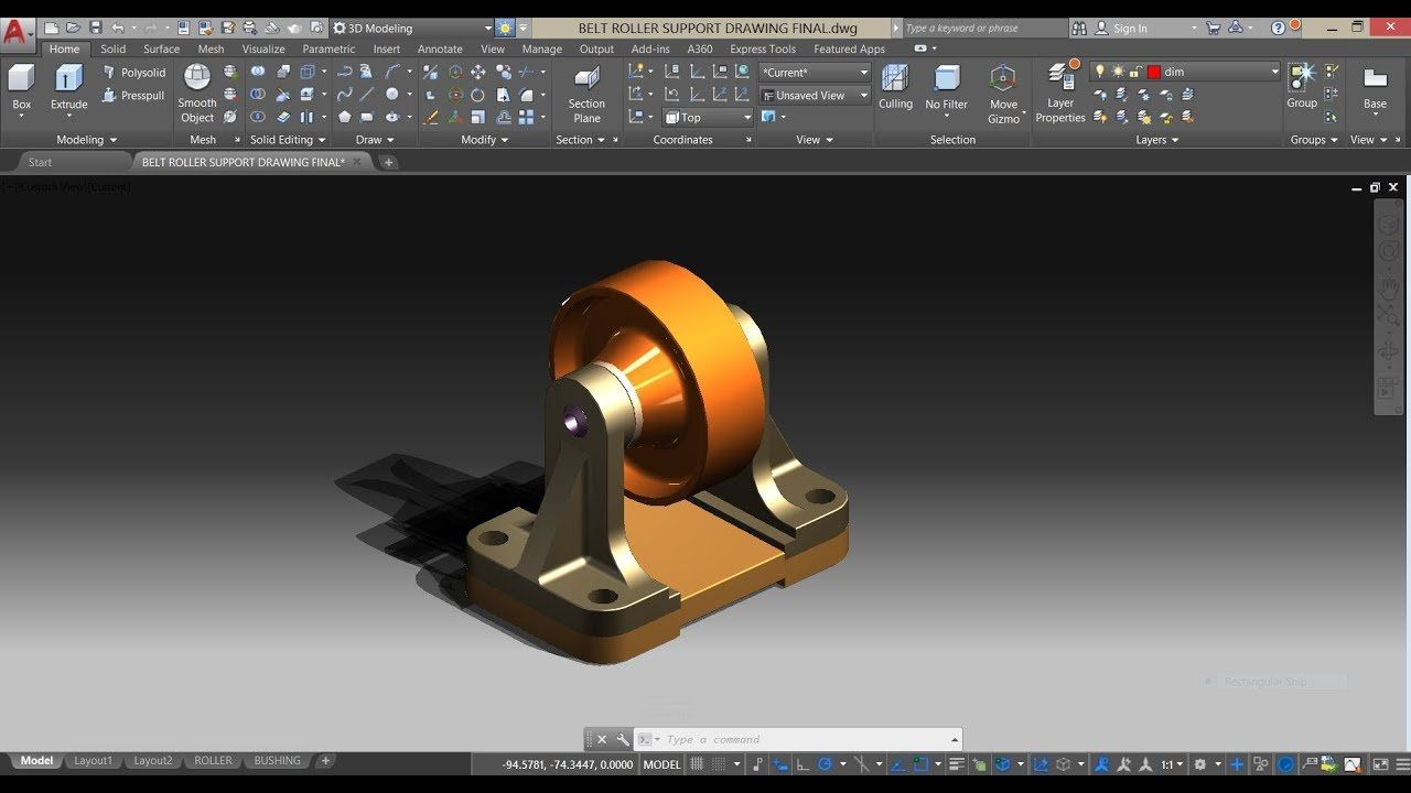 Assembly Of Belt Roller Support In Autocad Mechanical Modeling