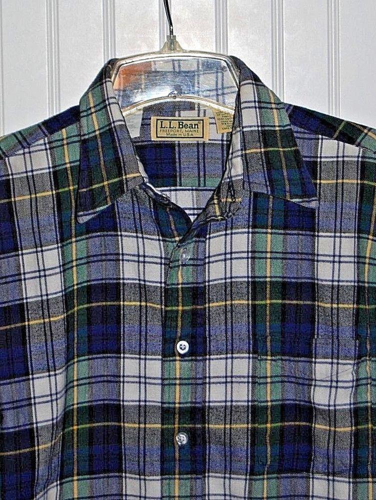 9acd6583b326 Vintage LL Bean Men's Medium Plaid Blue Green White L/S Flannel Shirt Made  USA #LLBean #ButtonFront