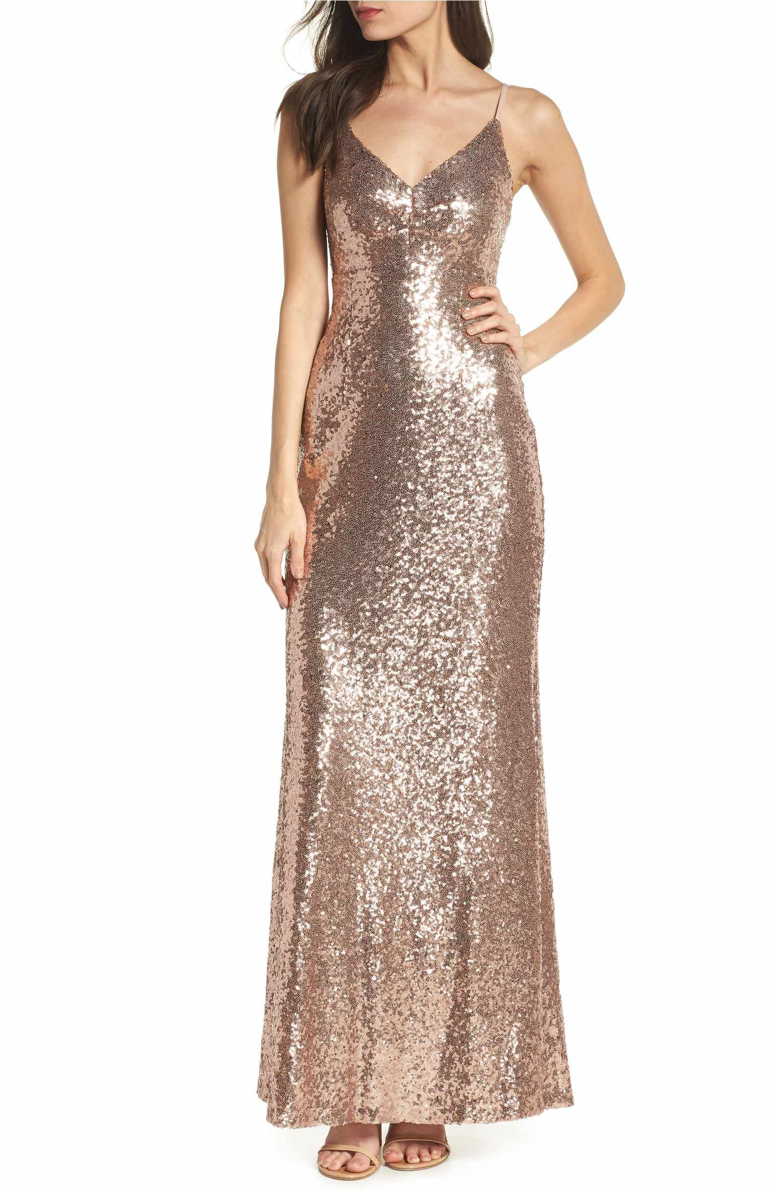 Main Image - Morgan & Co. Keyhole Back Sequin Gown | wedding ...