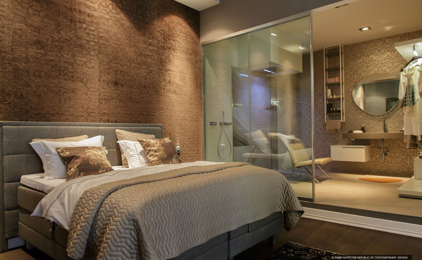 the bedroom area is an exclusive space where fine wall coverings enclose the smart and elegant. Black Bedroom Furniture Sets. Home Design Ideas