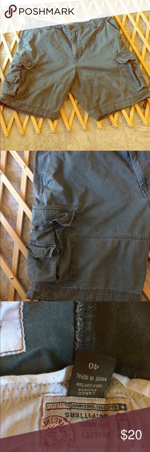 Quality apparel outfitters men's size 40 This is a pair of Quality apparel outfitters cargo shorts men's size 40 ,dimensions are waist 44 inseam 10 1/2 length 22 100% cotton. Quality apparel outfitters Shorts Cargos