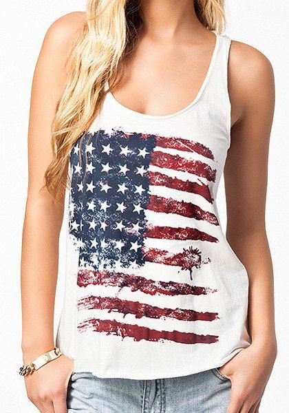 Distressed American Flag Print Patriotic Tank Top Tank Top Fashion Printed Tank Tops Casual Tank Tops