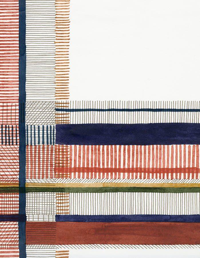 Les folles créations design signées Hermès - Elle Décoration #pattern A wallpaper like a watercolor. Crossing lines and colors, a detail of wallpaper Nigel's Tartan, designed by artist Nigel Peake. #surfacepatterndesign