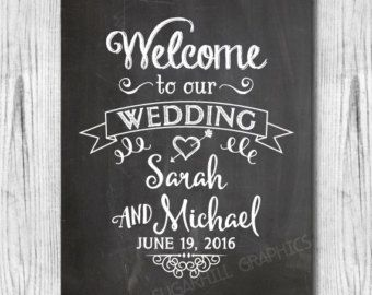 Chalkboard Welcome To Our Wedding Sign Printable Decor
