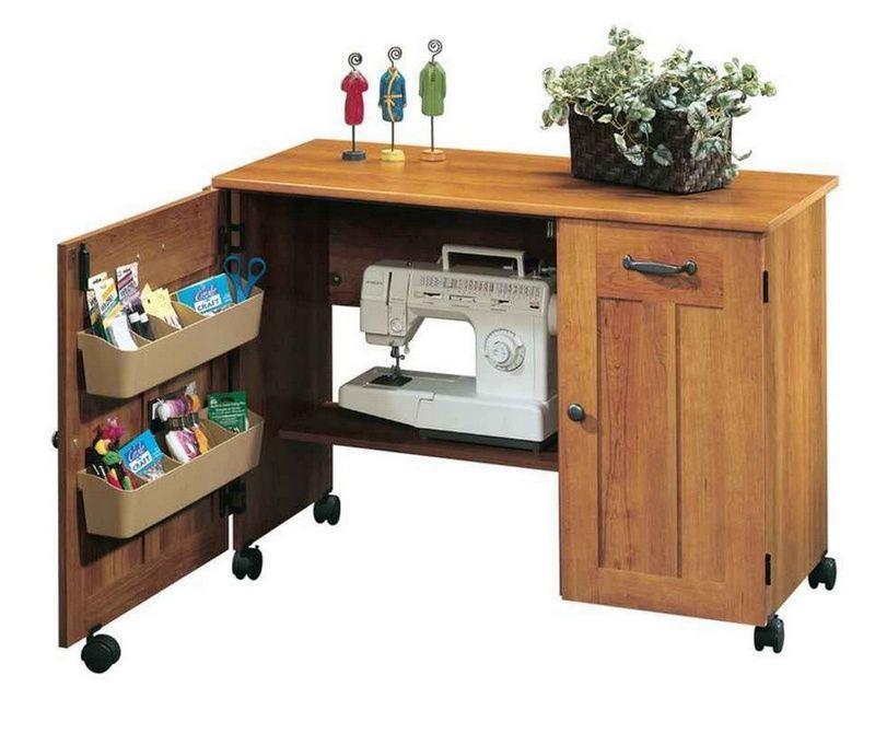Sauder Sewing Craft Table Storage Cabinets Drop Leaf Shelves Amber Pine Finish