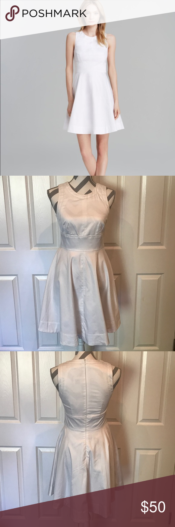 """French Connection Fit & Flare Dress NWT. Never worn. Bought at Bloomingdales. Total length is 35"""". Length from bottom of waistband is 19.5"""". Bust 34"""". Waist 27"""". Noticed very minor mark near right bust when photographing to sell--not noticeable. Looks like it will wash out. Entire dress is fully lined. Super cute! French Connection Dresses Midi"""