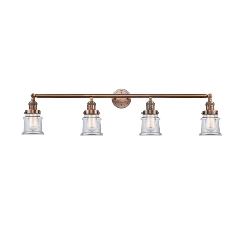 Photo of Innovations Lighting 215-S Small Canton Small Canton 4 Light 42″ Wide Bathroom V Antique Copper / Clear Indoor Lighting Bathroom Fixtures Vanity Light