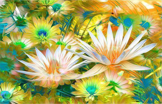 Virágok, 3d, művészeti