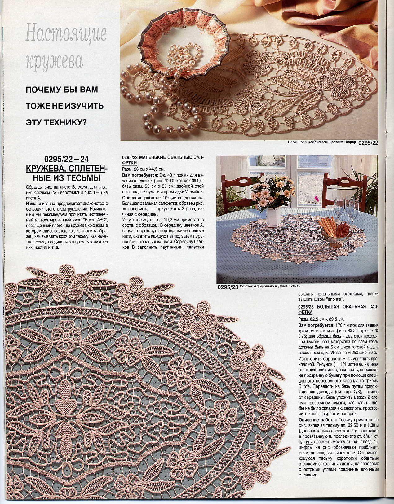 Romanian Point Lace crochet (aka Macramé Crochet Lace) from the February, 1995 edition of Anna Burda magazine.