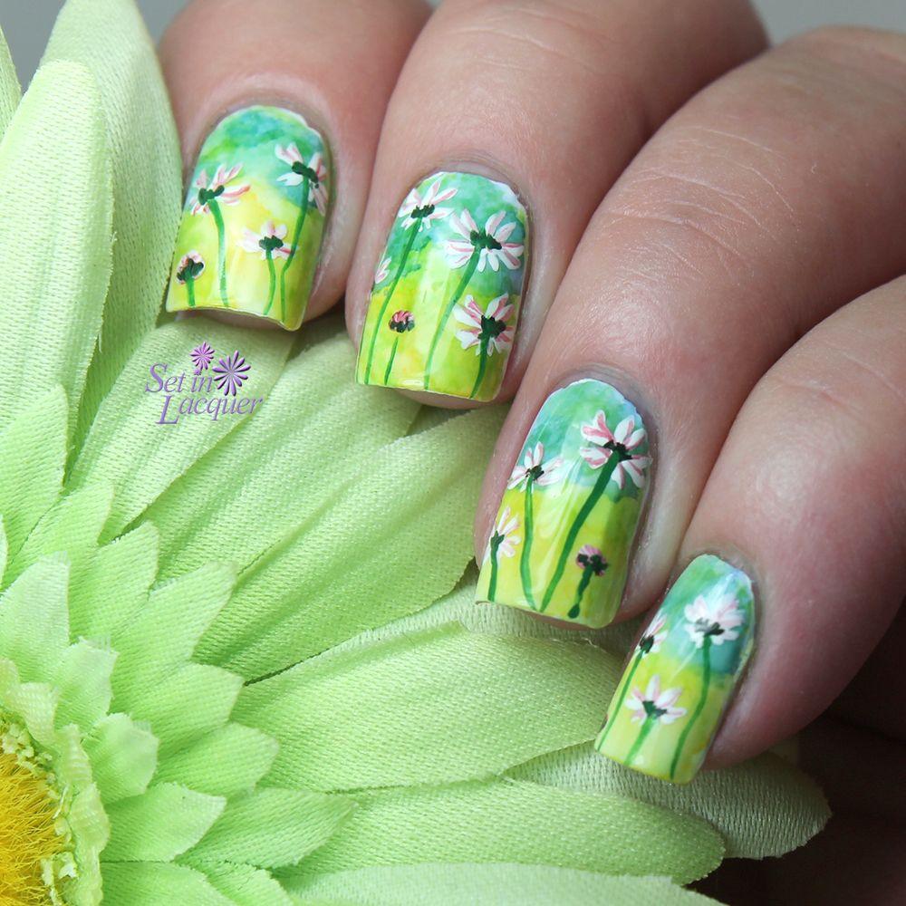 Floral nail art | Nails | Pinterest | Manicuras y Color