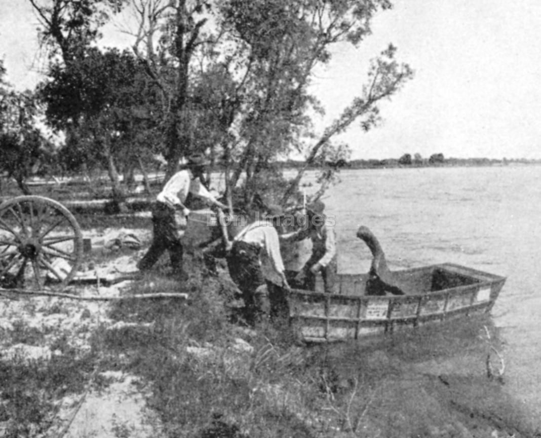 Pioneers in Ezra Meeker group launch schooner on the river...oregon trail - Google Search
