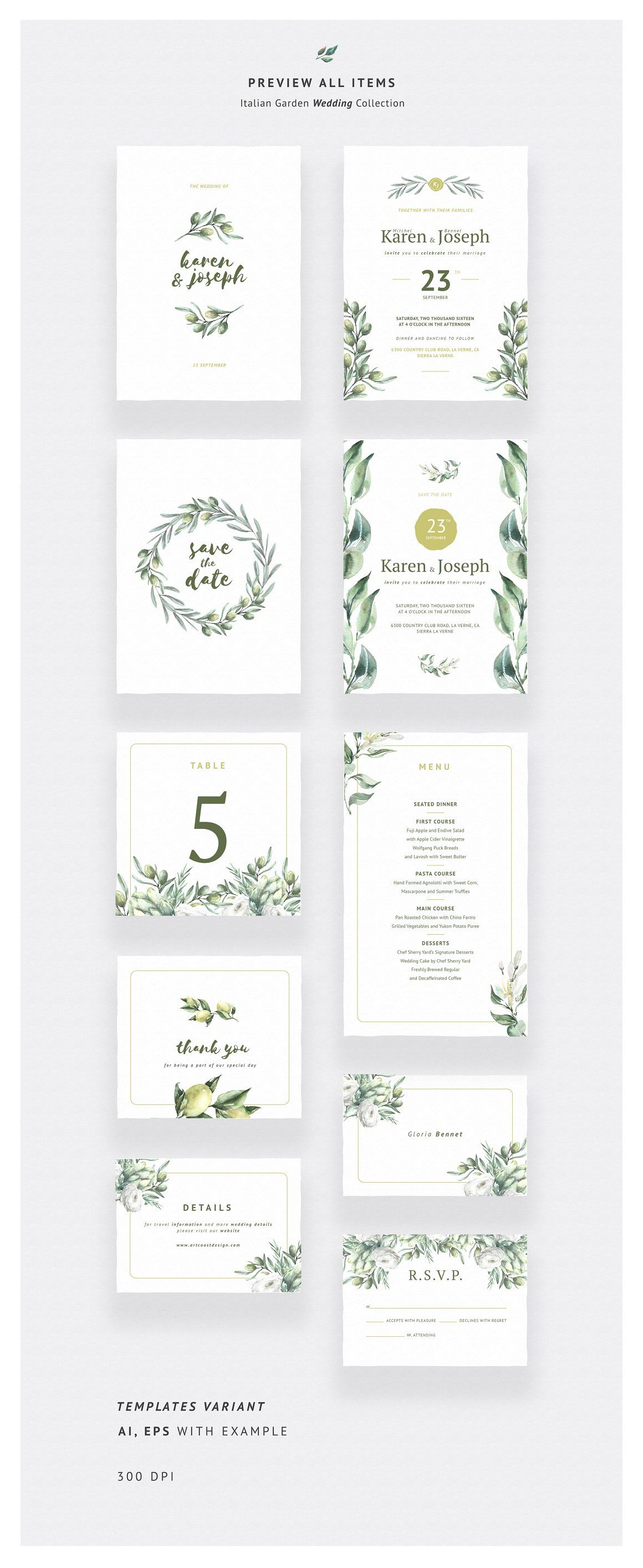 Italian Garden Wedding Collection Stationery Templates What Associations Will Italy Bring To You I For Exle Have Olives White Wine Lemons: Exquisite Tuscan Wedding Invitations At Websimilar.org