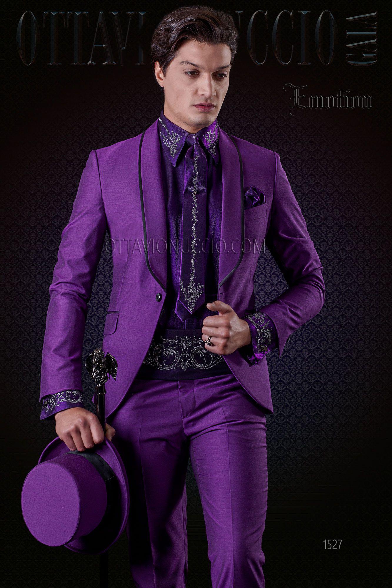 Purple Shawl Lapel Tuxedo With Black Trims Wedding Groom