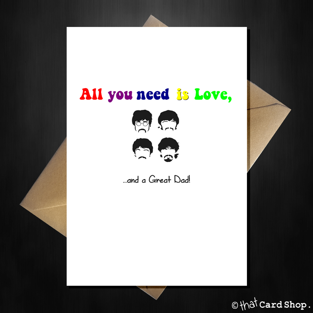 Retro Beatles Love Personalized Father/'s Day Card