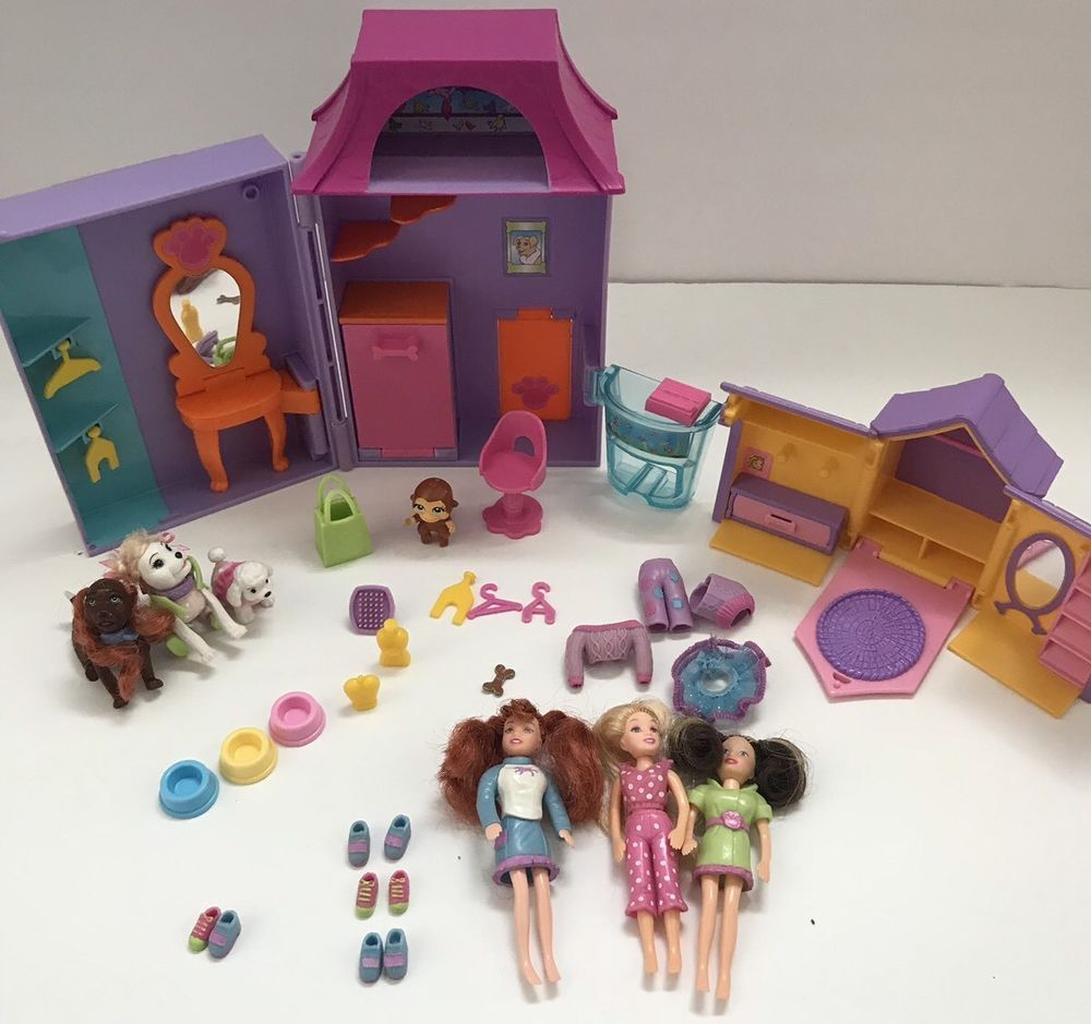 Polly Pocket Pet Salon Store Dog House Playset Dogs Cats Doll