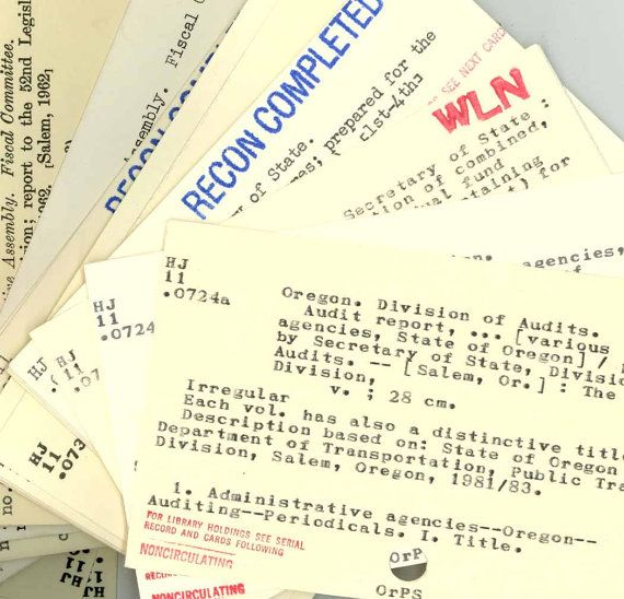 100 Vintage Library Card Catalog Index Cards, Reclaimed from