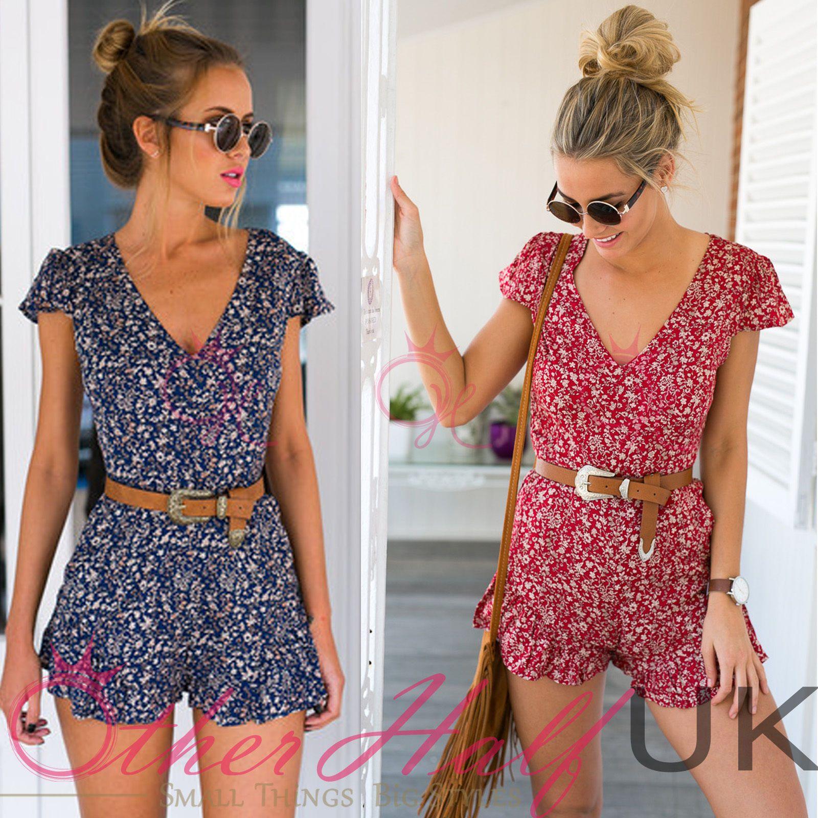 UK Womens Short Sleeve Holiday Mini Playsuit Ladies Summer Beach Shorts Jumpsuit