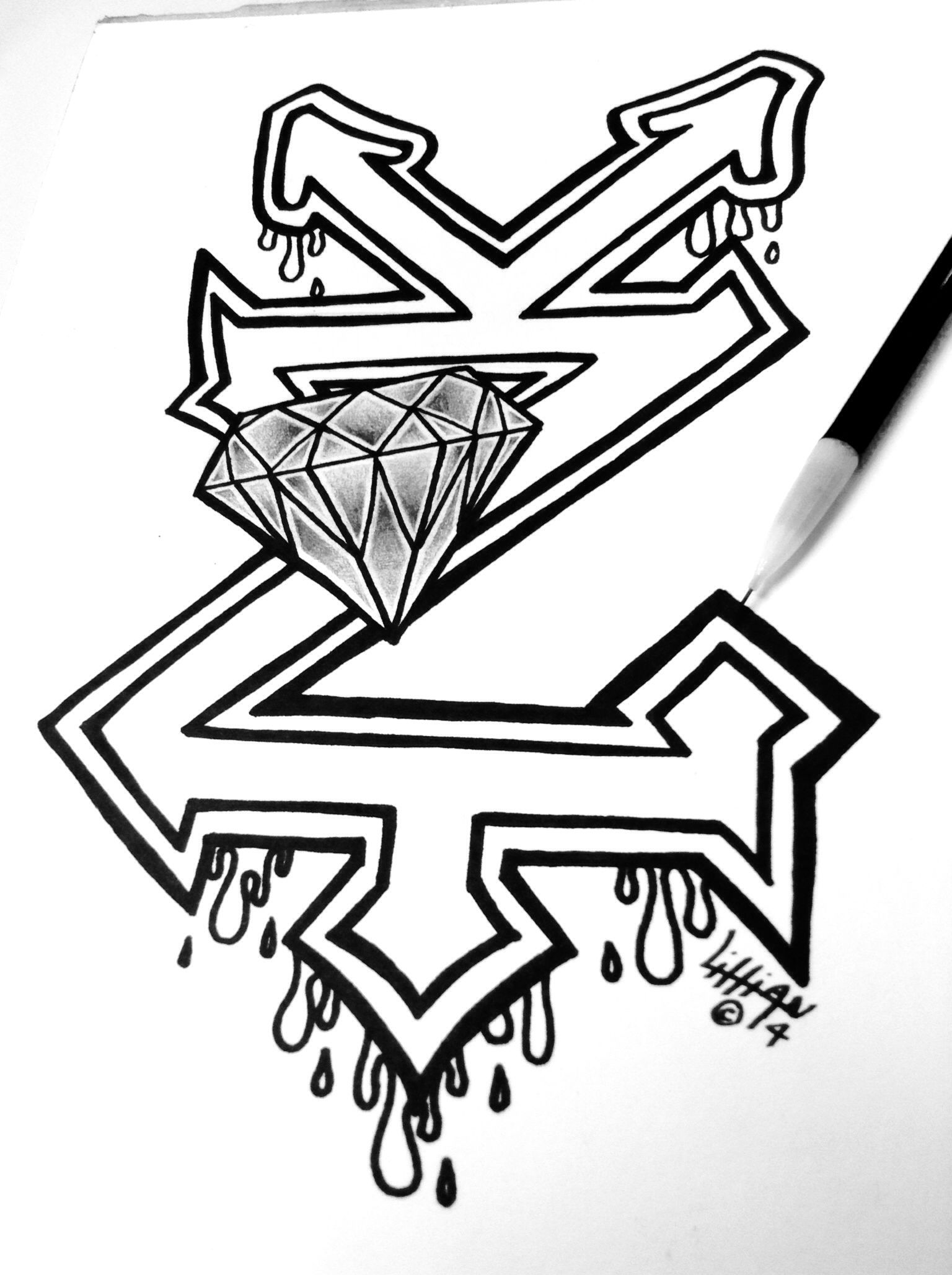 Drawing of zooyork and diamond logos together by lillian