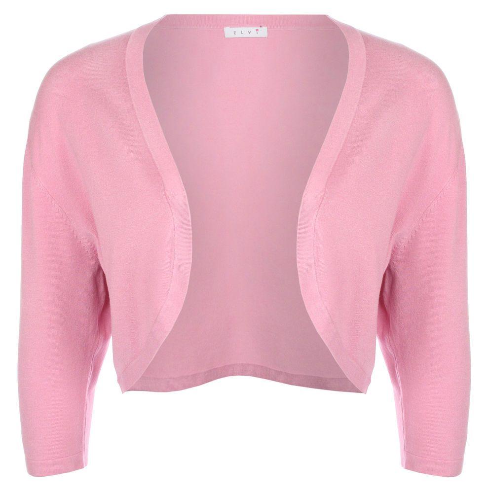 elvi womens summer plus size ladies 3/4 sleeve pink bolero chick