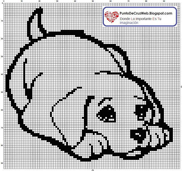 Cachorro Labrador En Punto De Cruz | Point Croix Monochrome ...