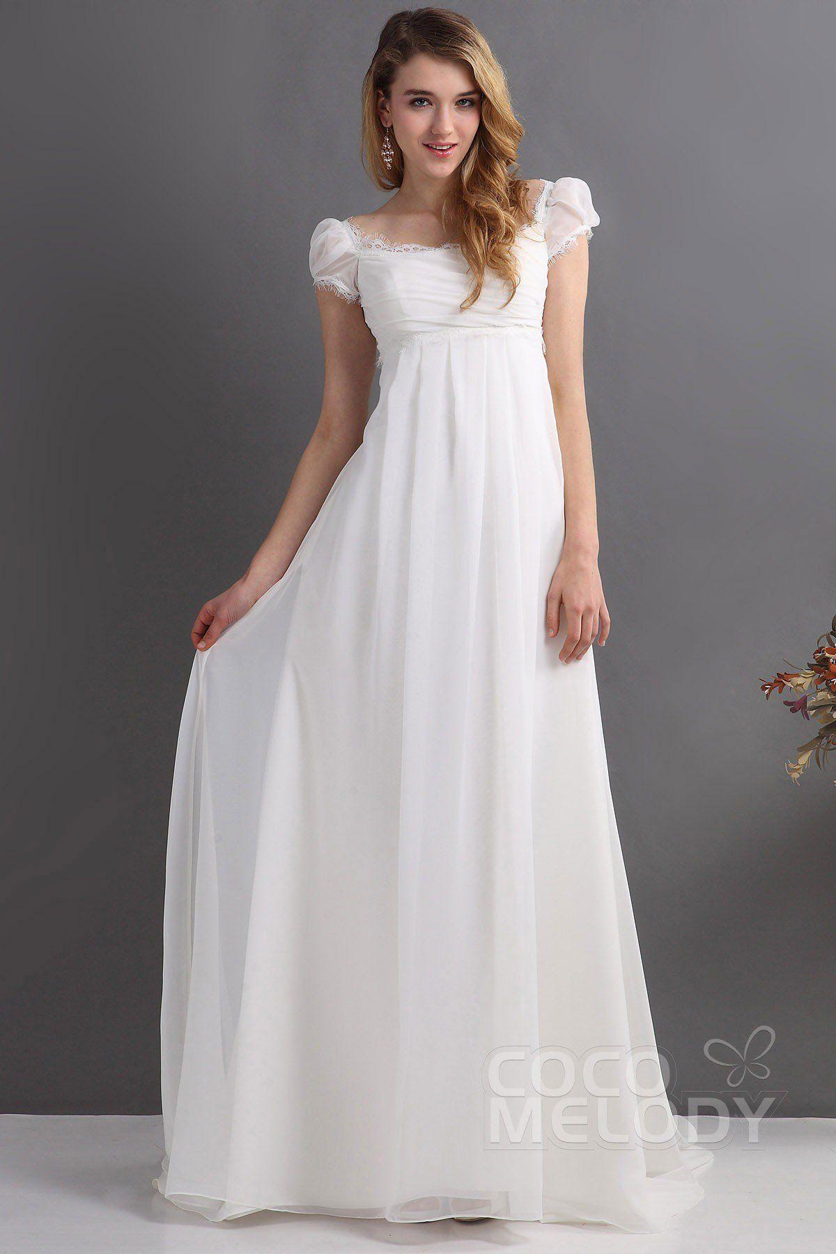 [ USD 249 ] SheathColumn Train Chiffon Wedding Dress