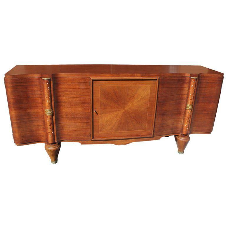 French Art Deco Palisander Buffet M O P Inlay Jules Leleu Style Circa 1940 S Art Deco Sideboard Art Deco Buffet Sideboard Art Deco Furniture