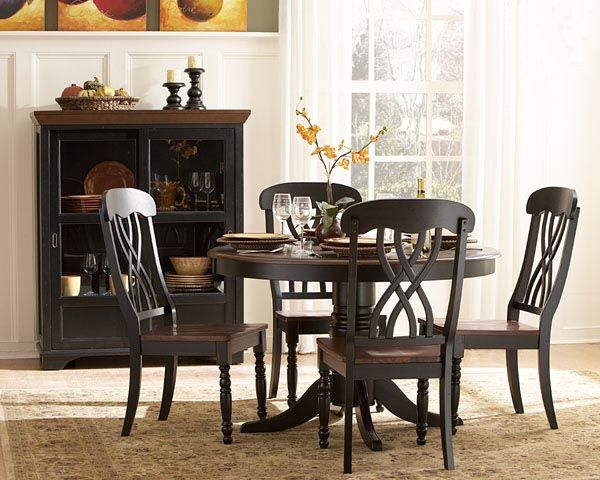Round Black Cherry Dining Table And Chairs