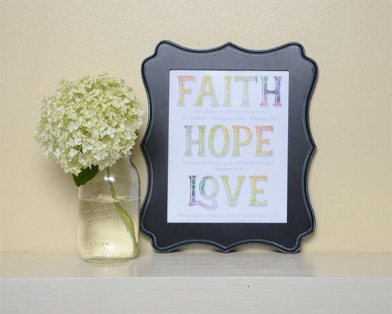 Faith, Hope, Love print - printable download, Hope, Bible Verse art