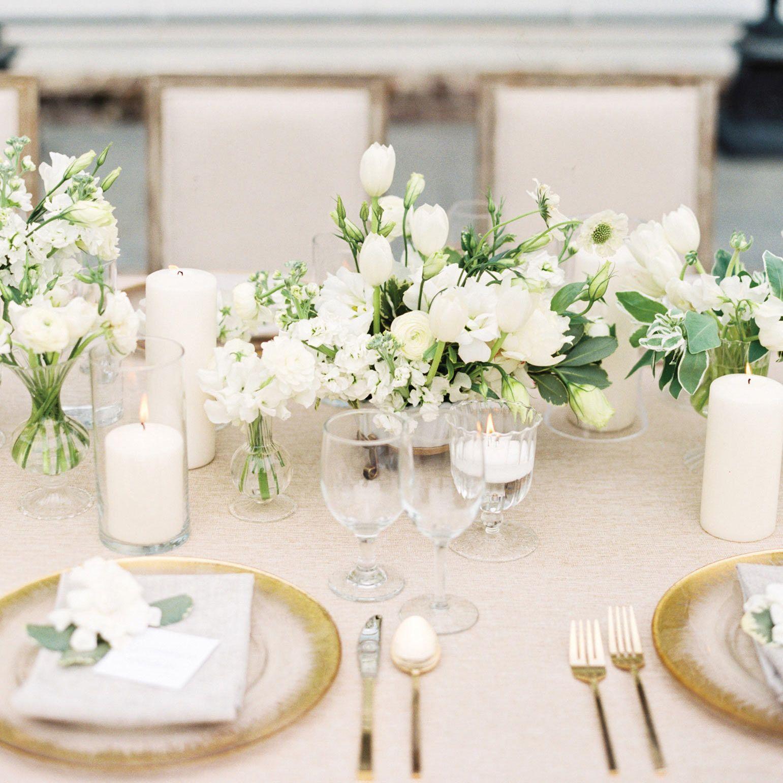 Gorgeous White Wedding Inspiration White Floral Arrangements