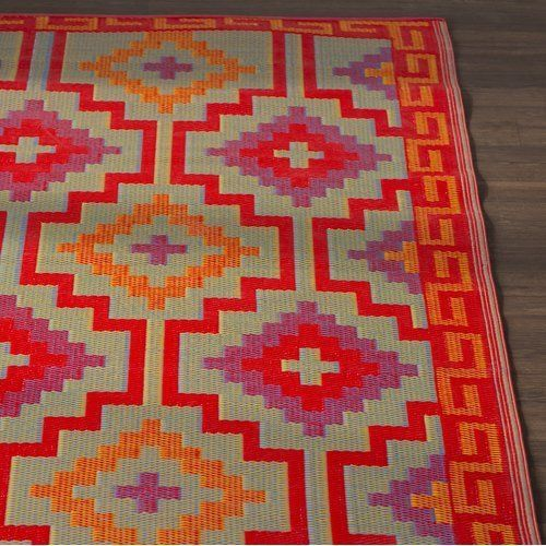 Loon Peak Patterson Square Red Indoor Outdoor Area Rug