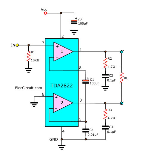 Tda2822 Stereo Amplifier Datasheet Electronic Circuit Projects In 2020 Electronic Circuit Projects Electronics Circuit Stereo Amplifier